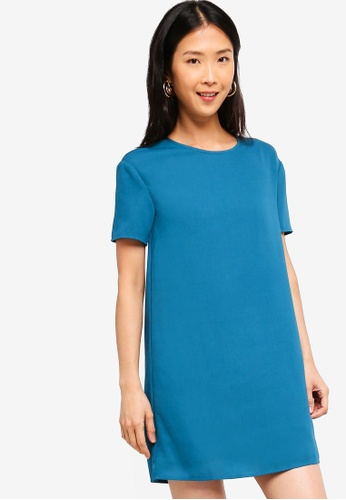 ZALORA BASICS blue Basic Boxy Dress E5250AAA9B8D5AGS_1