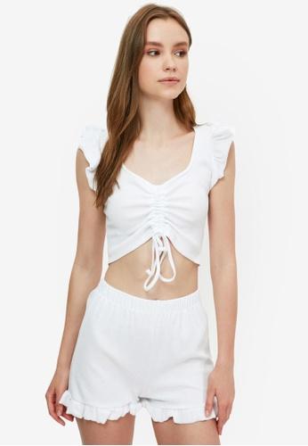 Trendyol white Ruched Pyjama Set 0543DAAEA6B214GS_1