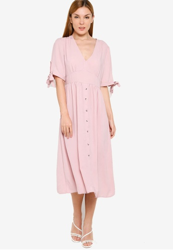 ZALORA pink Tie Sleeves Dress FD97AAA270FBAFGS_1