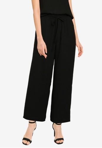 ZALORA BASICS black Drawstring Casual Pants DBD7DAA0AB93F3GS_1