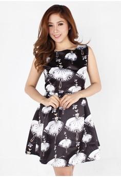 Girly Ballerina Print Pleated Dress