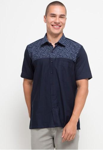 Gianni Visentin navy Cotton Print,Regular Fit Shirt 4B086AA6A97F77GS_1