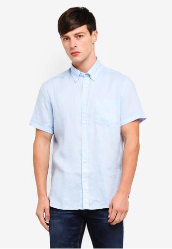 MANGO Man blue Linen Shirt AAB19AA6ED83F0GS_1