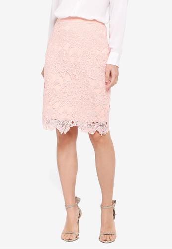 ZALORA pink Pencil Lace Skirt 3E9DBAA71C654CGS_1