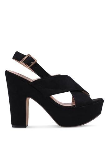 Nose 黑色 交叉繞帶粗跟涼鞋 69C15SH5897013GS_1