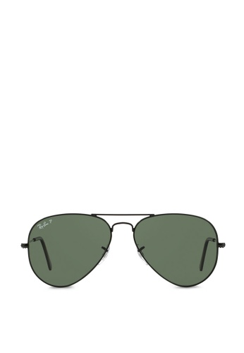 b62d8b64f4 Ray-Ban black Aviator Large Metal RB3025 Polarized Sunglasses  RA370GL47SAASG 1