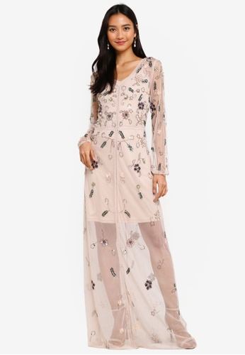 a7ccd48806 Frock and Frill pink Florence Embellished Maxi Dress With Sheer Overlay  C32A6AA1CB6BD6GS_1