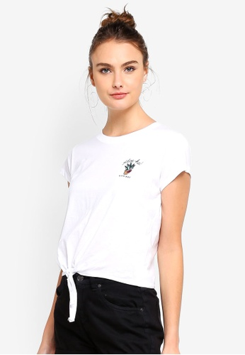 Cotton On white Tbar Tie Front Tee 8D15EAAE74DAFCGS_1