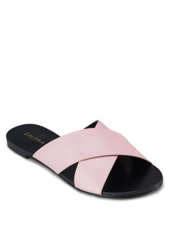 zalora 評價交叉寬帶拖鞋涼鞋, 女鞋, 涼鞋