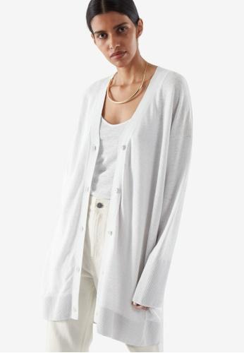 COS grey Oversized Linen Cardigan 64F51AA0A1787EGS_1