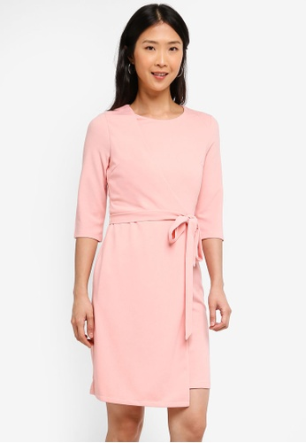 ZALORA BASICS pink Basic Overlap 3/4 Sleeves Dress A2F20AA41CE743GS_1