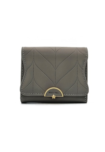 Polo Hill grey Polo Hill Ladies Leaf Inspired Stitching Tri-Fold Short Wallet 21521AC00CD223GS_1