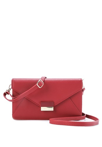 HUER red Asica Multifunction Flap Wallet With Sling Strap 03BFFACE9B8644GS_1