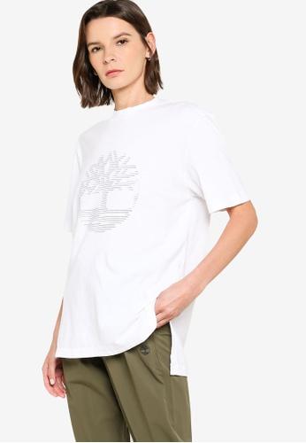 Timberland white Reflective Logo Oversize Tee 6F401AA1ED21B4GS_1