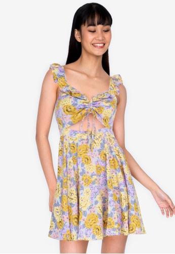 ZALORA BASICS multi Floral Gather Front Ruffle Mini Dress 5BF3DAA6AF6E1CGS_1