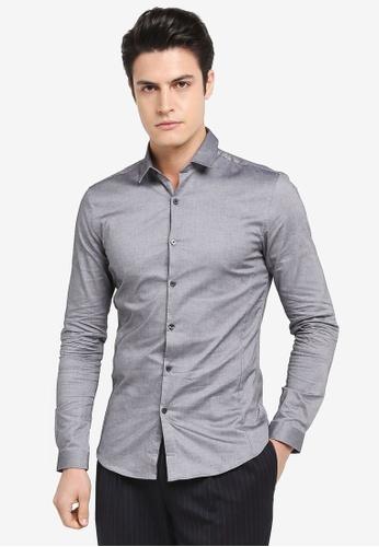 Topman grey Long Sleeve Muscle Shirt 9C387AAA8FEEBAGS_1