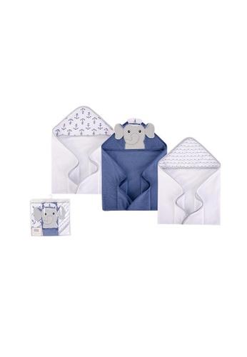 Little Kooma blue Hudson Baby Knit Terry Hooded Towel Set 3 Piece 57991 Sailor Elephant 418D0KCA1F3FDEGS_1