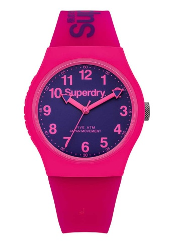 Superdry pink Superdry Urban Blue and Pink Silicone Watch 29FEAAC9F4D814GS_1