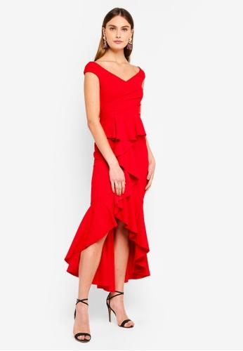 Goddiva red Off The Shoulder Mermaid Maxi Dress 08DABAAF1D2A9EGS_1