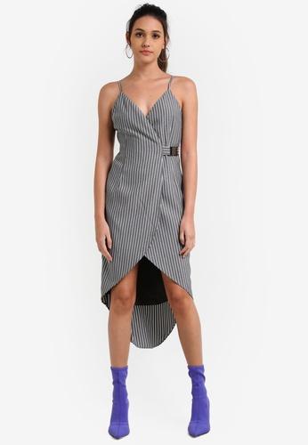 Something Borrowed black Buckle Detail Wrap Cami Midi Dress 00FD3AA86A860EGS_1