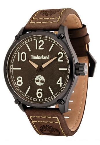 Timberland brown Leighton TBL.14852JSU/12 Dark Brown Leather Strap Men Watch TI063AC26TTPMY_1