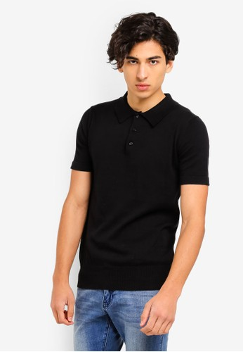 Brave Soul black Knitted Polo Shirt 11E33AA6A67ED4GS_1
