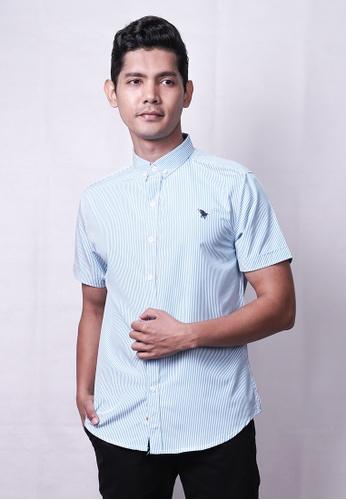 MILANO blue Milano Men Stripe Woven Shirt 8355EAAED03C0CGS_1