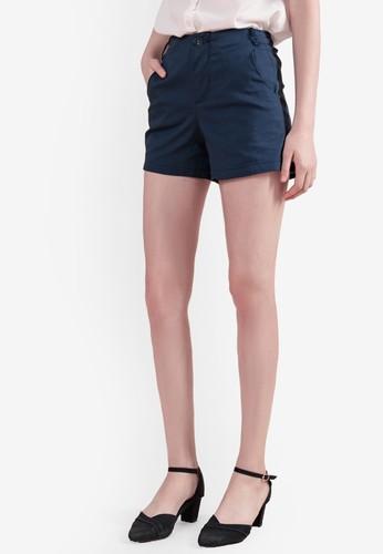Eyescream blue and navy High Waist Tailored Shorts 631FFAAFD9EC97GS_1