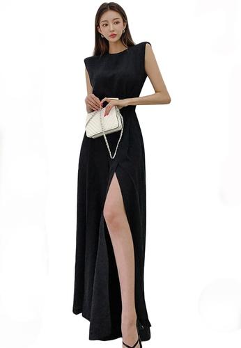 Sunnydaysweety black Sleeveless with Hight Slit Hem Maxi long dressA21031907BK A8EB9AAF3826C9GS_1