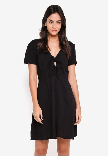 Cotton On black Woven Kya Knot Front Cap Sleeve Mini Dress DFD05AAD15E8C9GS_1