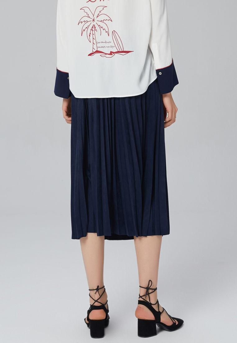 Hopeshow Pleated Hopeshow Midi Pleated Skirt Navy rEqBr