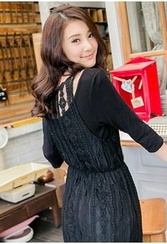 [OB] V-Neck Lace Dress with Underlay