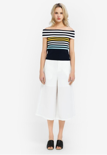 Hopeshow multi Knitted Off Shoulder Top with Color Stripes 1ED00AA8C27502GS_1