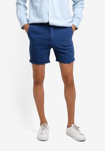 ZALORA blue Cotton Linen Shorts B7C77AA0F98F8DGS_1