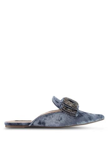 ZALORA 海軍藍色 結飾尖頭拖鞋 55890SH178367CGS_1