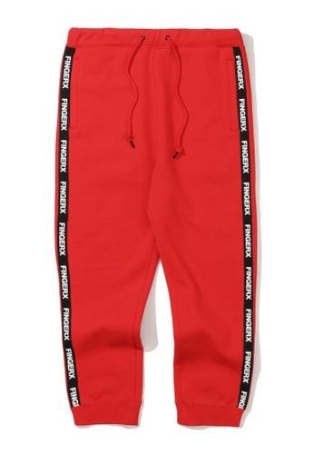 Fingercroxx red Logo tape sweatpants 23DA2AAB86452DGS_1