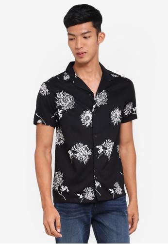 Burton Menswear London 黑色 短袖印花襯衫 2E3BDAABD85087GS_1