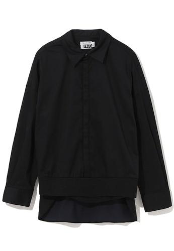 izzue black Ribbed hem shirt 85569AAED3D909GS_1