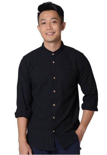 Praise black Stand Collar Long Sleeves Shirt 65A80AA4283111GS_1