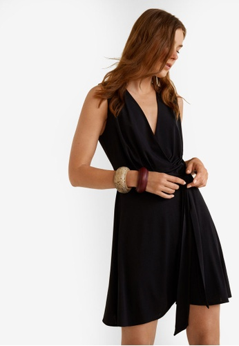 Mango black Bow Wrap Dress D021DAAC4ECBD2GS_1