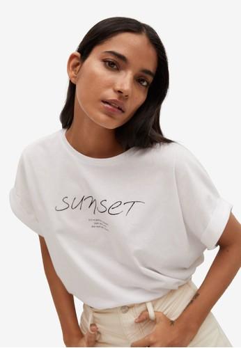 Mango white Organic Printed Cotton T-Shirt 94A51AA78CECCAGS_1