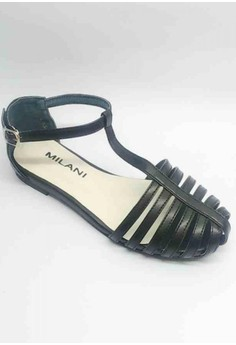 Lea Black Closed Strappy Flat Sandal with T-strap