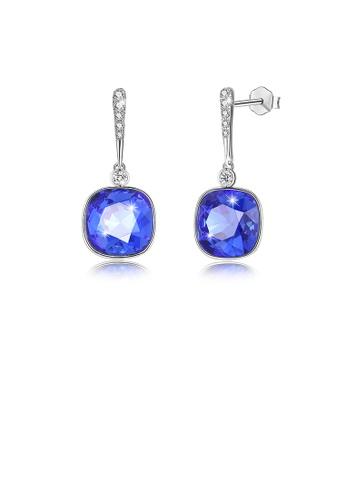 Glamorousky blue 925 Sterling Silver Elegant Fashion Simple Sparkling Sapphire Blue Austrian element Crystal Earrings 7FDF3AC3115D1CGS_1