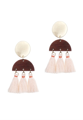LUCCACAL brown Lual Tassel Earrings BED40ACC4F9A0DGS_1