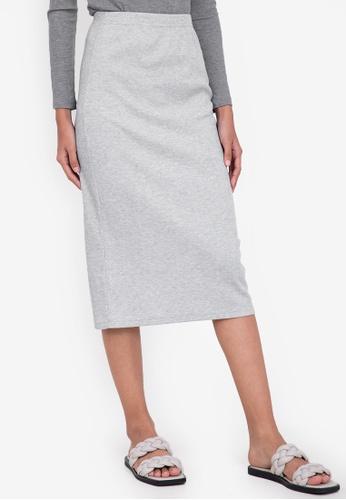 ZALORA BASICS grey Midi Ribbed High Waist Skirt 77EF8AA0651D81GS_1