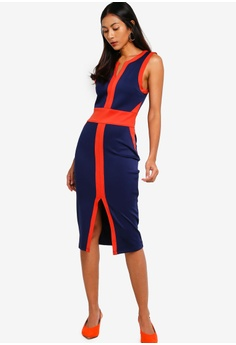 31194cb318a7 ZALORA BASICS multi and navy Basic Panel Detail Fitted Dress  C651FAAD39AF92GS 1