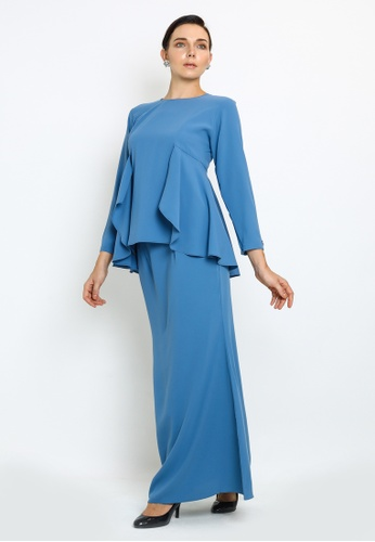Jane-Kurung Modern style with drape detail from OWLBYND in Blue