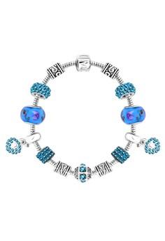 Treasure by B&D DBY013 Imitation Sapphire Lucky Beads Morano DIY Bracelet With Love Hearts Pendants