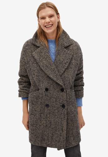 Mango grey Textured Wrap Coat 9E224AA9F0D797GS_1