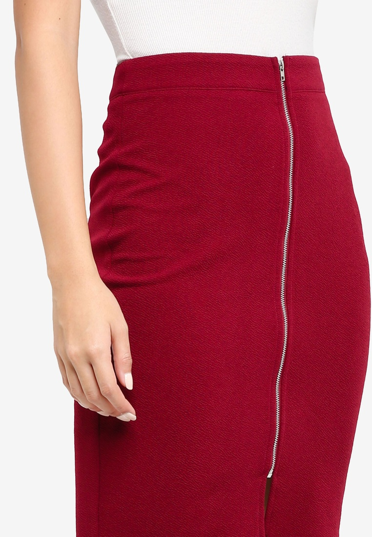 Pencil Maroon Front ZALORA BASICS Black Zip 2 Skirt pack TnzX8q